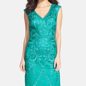 Sue Wong Embroidered Sheath Dress Teal 6 #164